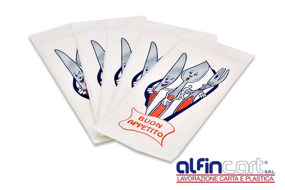 Disposable cutlery pouches.