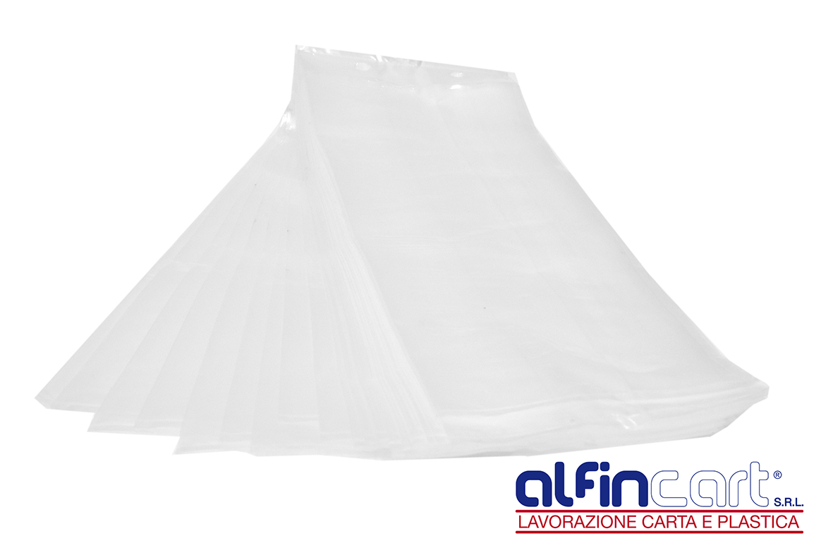 Poly bags made from polyethylene material in clear and unprinted style.