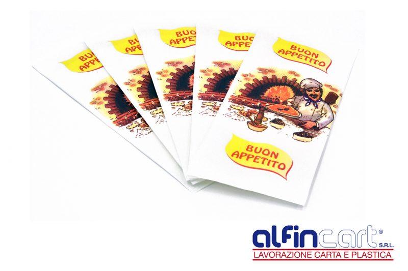 Portaposate di carta stampati con logo pizzeria.