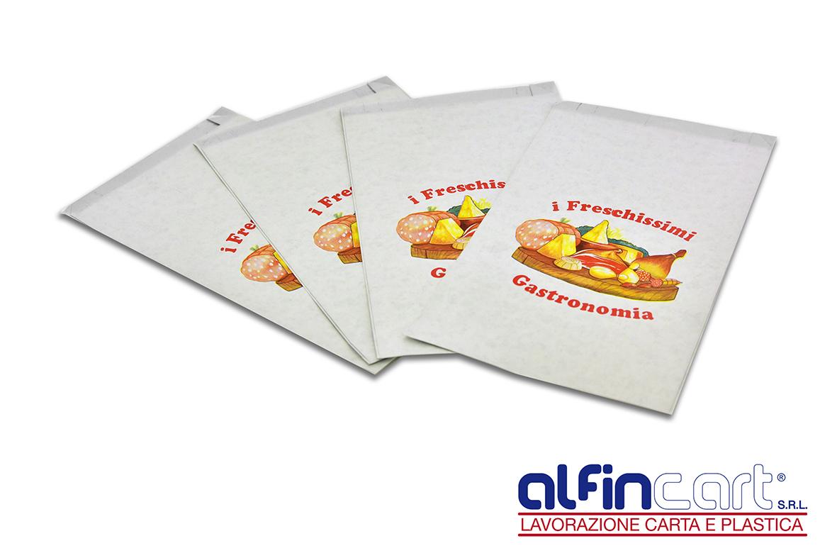"""Sacchetti salva freschezza stampati con logo generico """"I Freschissimi – Gastronomia""""."""