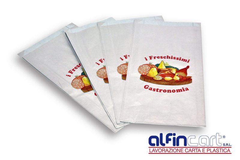 """Sacchetti salvafreschezza stampati con logo generico """"I Freschissimi – Gastronomia""""."""