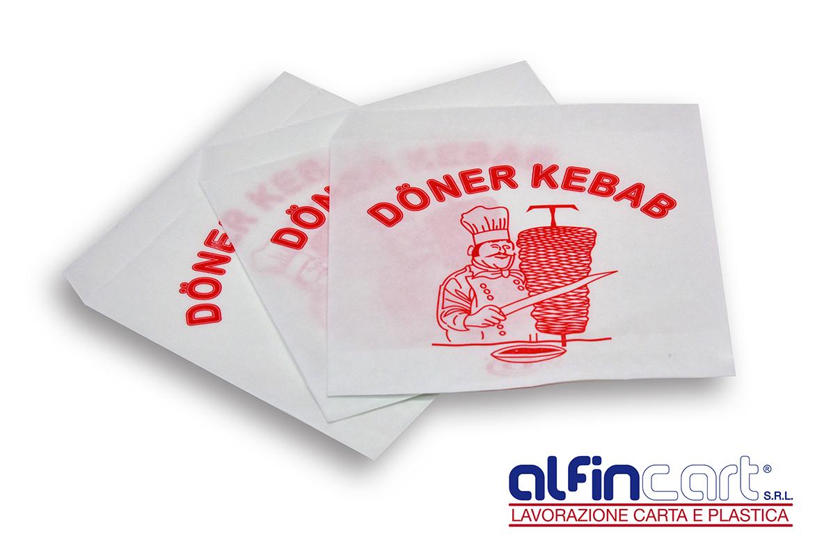 Sacs kebab en papier imprimé.