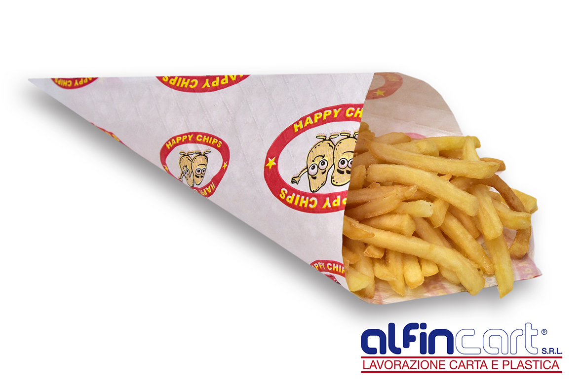 Papier-Spitztüten für Pommes-Frites.