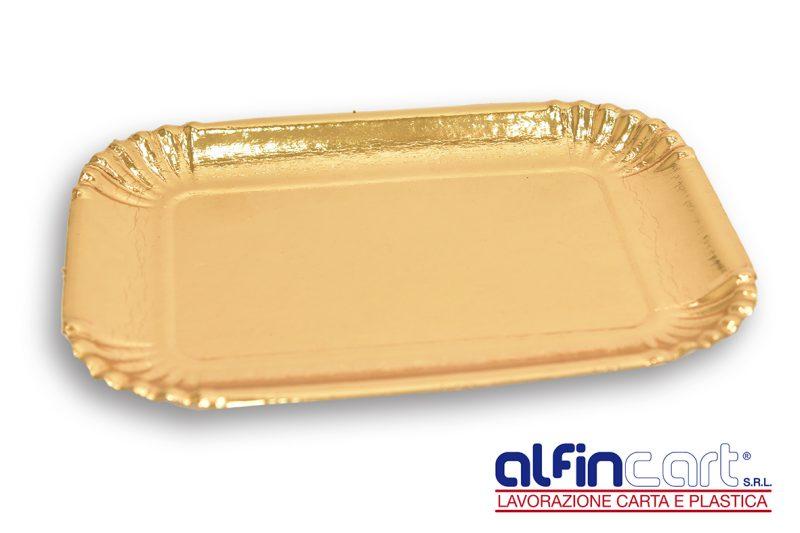 Vassoi di cartone oro usa e getta ideali per confezionare dolci, pasta fresca, torte e pasticcini.