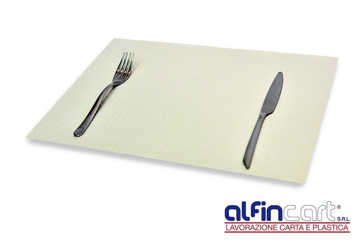 White paper placemats.