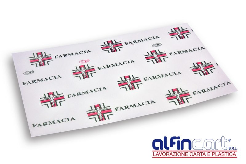 Wrapping paper with pharmacy medical design.