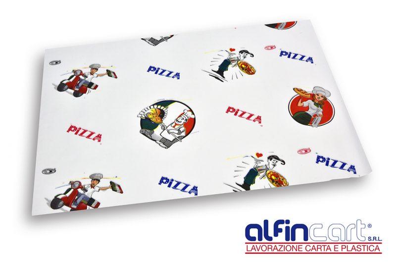 """Carta politenata per pizzeria stampata con logo generico """"Pizza""""."""