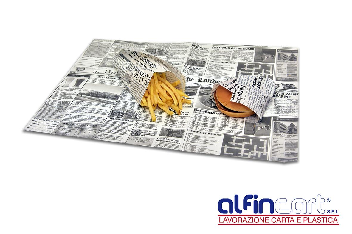 Carta antigrasso per alimenti e per usi alimentari.