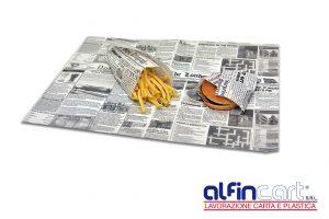 Fettpapier zum hygienisches Verpacken von Pommes, Hamburger, Schinken, Speck, Fleisch oder Backfisch.