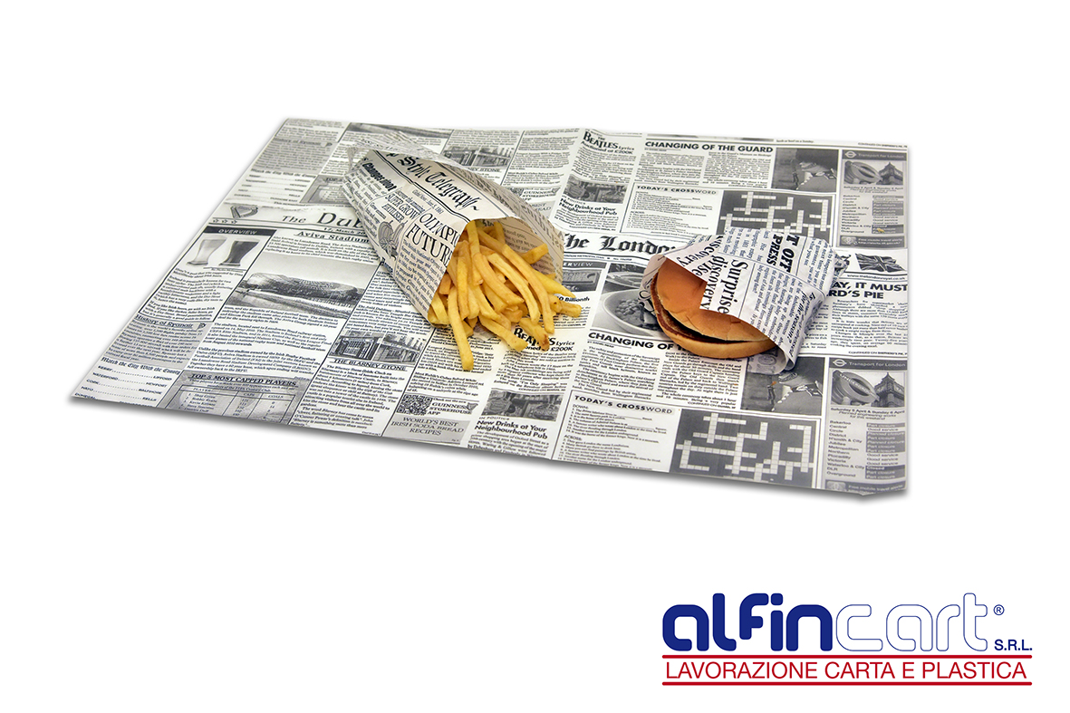 Greaseproof paper for food packaging.